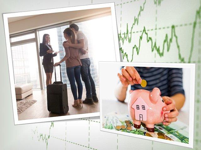 Srečni mladi par v novem najetem stanovanju stoji ob oknu z žensko nepremičninsko agentko, ki razstavlja stanovanje v najem. Ženska roka daje denar v hranilnik.