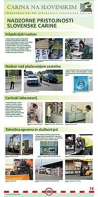 """Plakat z naslovom """"Nadzorne pristojnosti slovenske carine""""."""