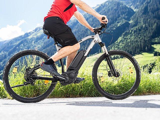 Moški se pelje na električnem kolesu. V ozadju so travniki, gozdovi in gore.