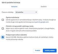 Brisanje predpomnilnika v brskalniku Chrome
